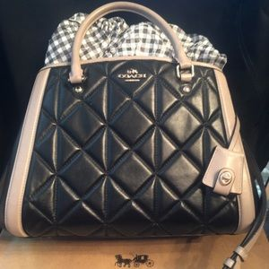 Coach Quilted 2-tone Black Stone Margot Crossbody